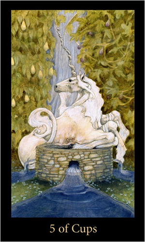 Mary El Tarot - Five of Cups - A white unicorn lounges on the lip of a well. Behind it is a waterfall. Water cascades out of the sides of the well in four directions.